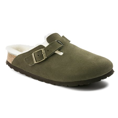 Birkenstock Shearling Lined Boston Clog - Forest