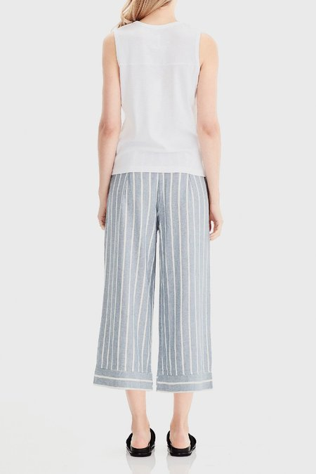 COMMONERS Wide Leg Cropped Pant - Blue Stripe