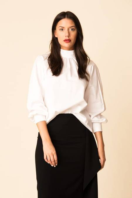 Tibi Satin Poplin Shirred Neck Top
