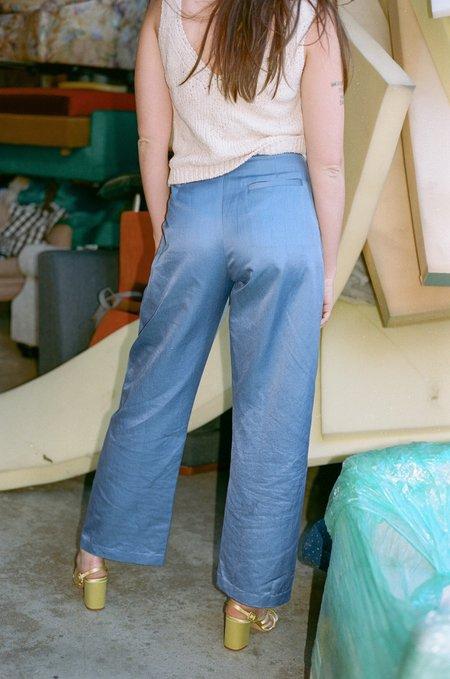 100% SILK Cintemani Suit Trouser - Blue