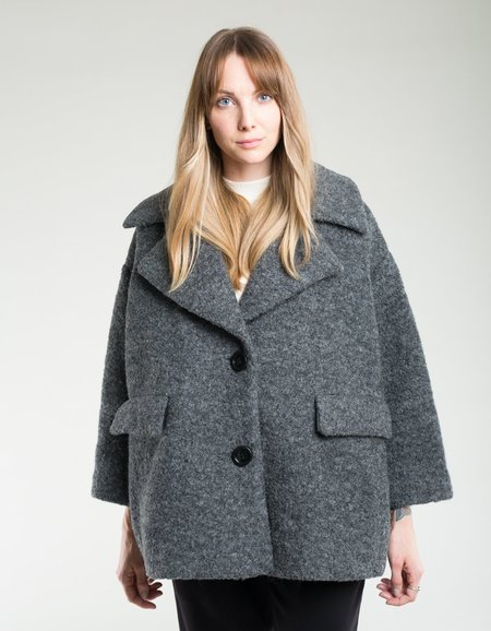 Ganni Boucle Wool Oversized Jacket - Ebony Melange