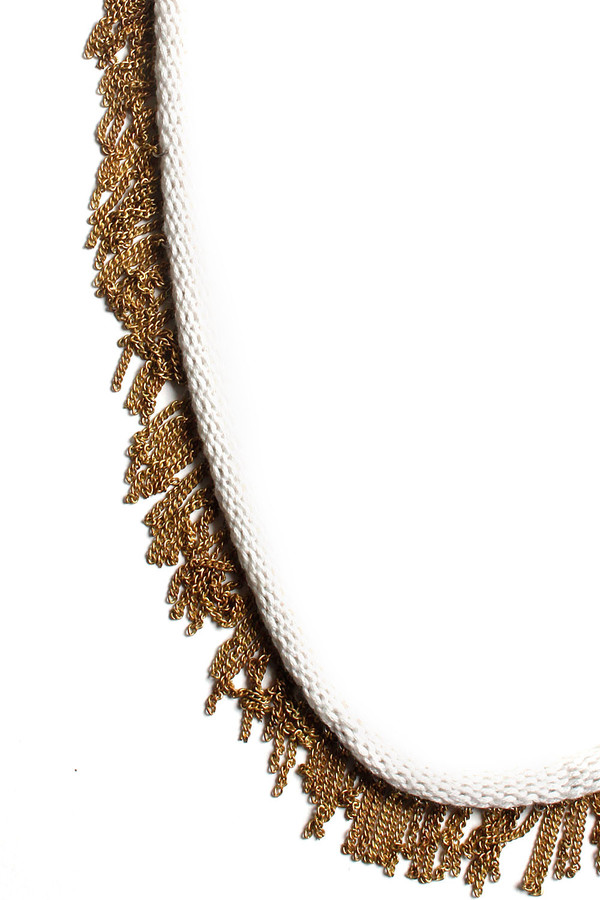 Cream Knit Bamboo and Brass Necklace