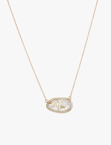 Kathryn Bentley Rutile Quartz Slice Necklace