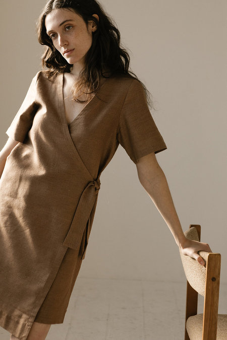 Open Air Museum Wrap Dress - Clay