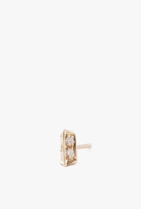 Selin Kent Sophia Stud Earring - 14k Gold/White Diamond (Single)