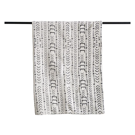 Bryar Wolf Mudcloth Throw - Natural/Black