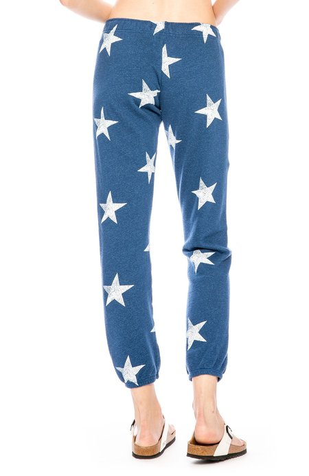 Monrow Star Print Sweatpants - Jean Blue
