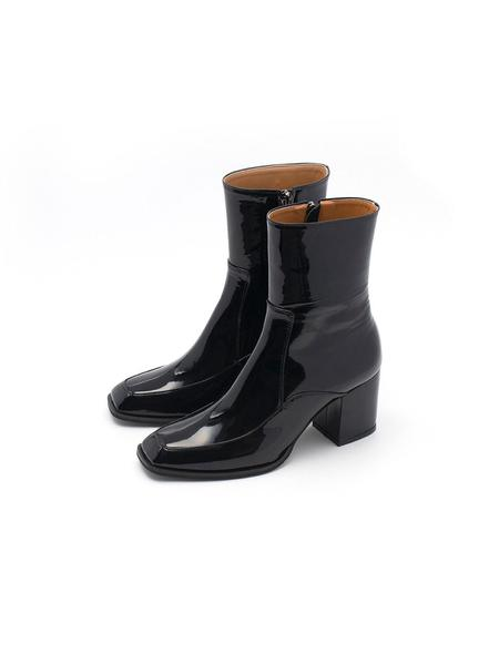 COAGMENT Glossy Ankle Boots - Black