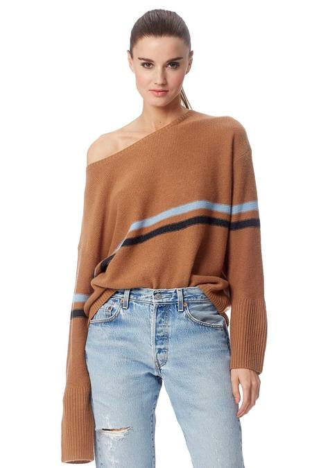 360 Cashmere Remington Sweater - Camel Stripe