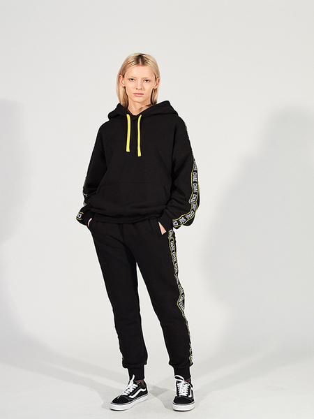 Unisex CHAENEWYORK Chae Taping Over Fit Pull Over Hoodie - Black/Yellow