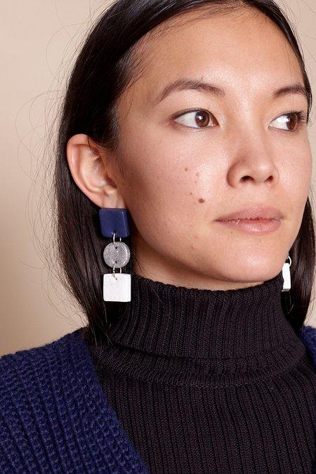 Peppertrain Jade Earrings - Navy/Silver