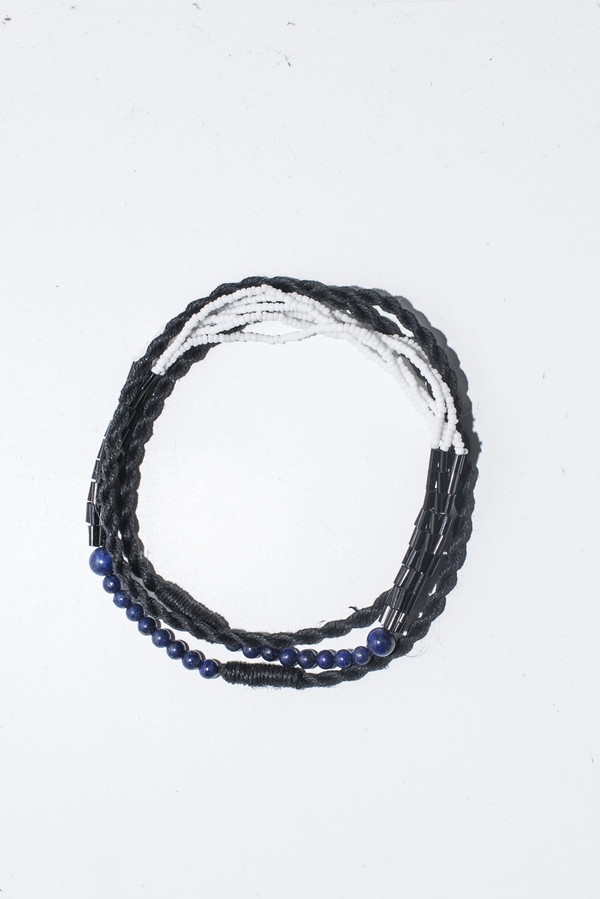 Ora-C Gisele Twist Cord Lapis and White Bead Necklace