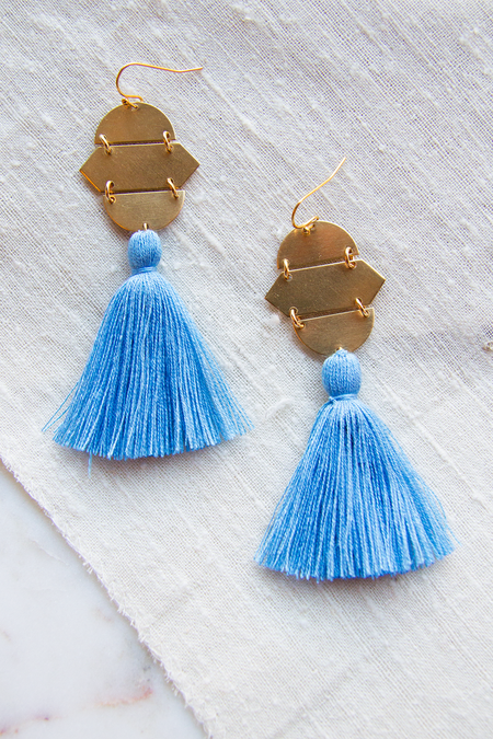 Sandy Hyun Geo Tassels - Light Blue