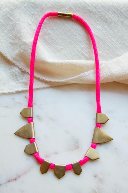 Sandy Hyun Mutli Tab Cord Necklace - Neon Pink