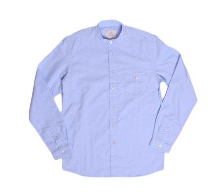 La Paz Vieira Banded Collar Shirt - Pale Blue Herringbone