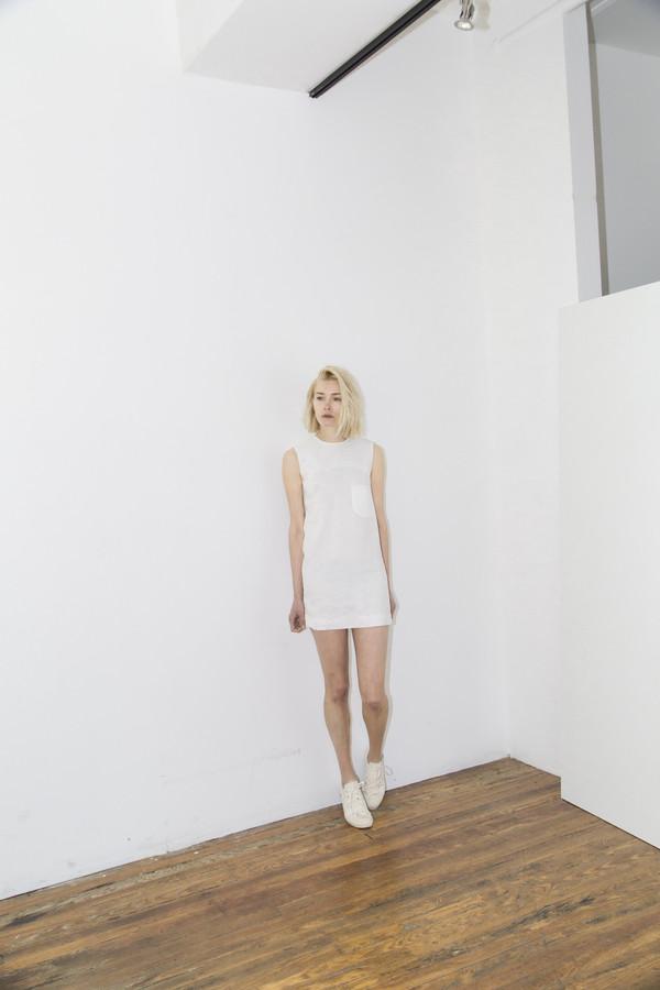 White Linen Pocket Shift Dress