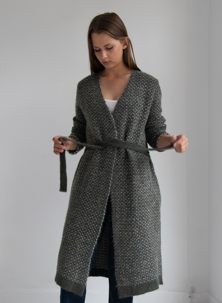 Elk Brick Cardigan - Green/Cream