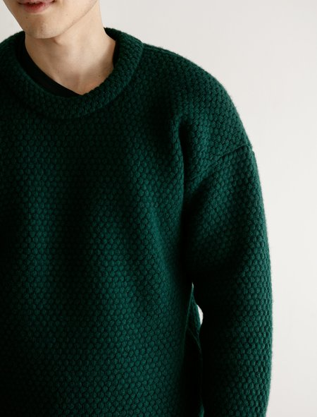 Tender Mirror Panel Double Blackberry Stitch Pullover Sweater - Green