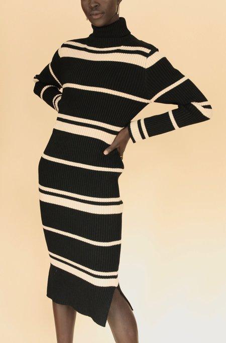 J.O.A. Striped Knit Midi Dress - BLACK