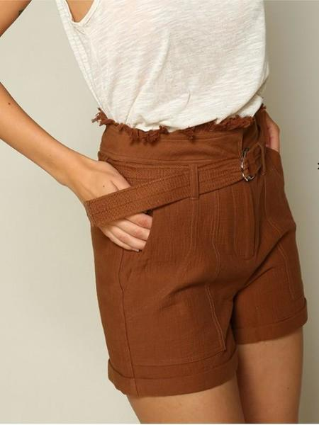Dear Society Frayed High Waist Belted Shorts - Brown