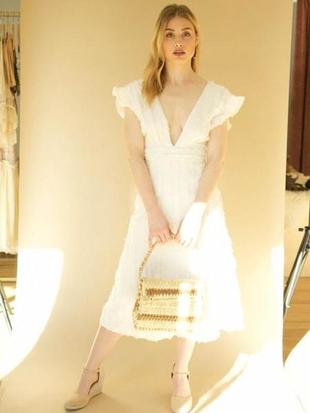 Line & Dot Frayed Flutter Sleeve Midi Dress - IVORY