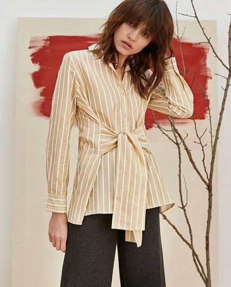 Charli Sabine Front Tie Shirt - Ochre Stripe