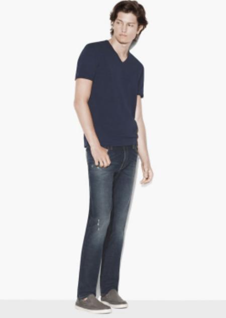 john varvatos star usa Slub V-Neck with Cut Raw Edge Shirt - Blue