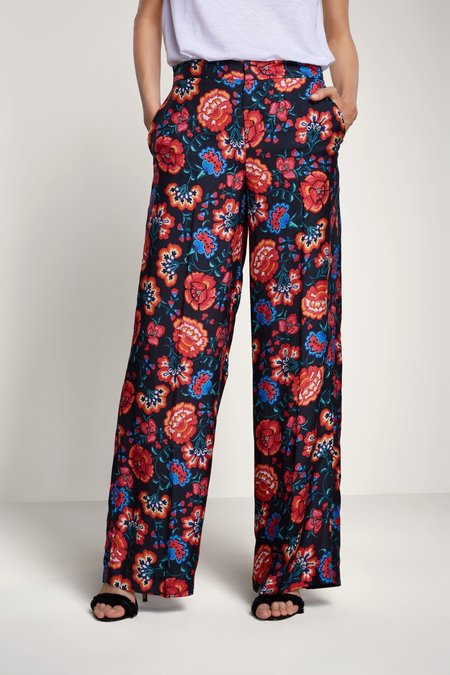 SET Casual Pants with Flower Print - Red/Black