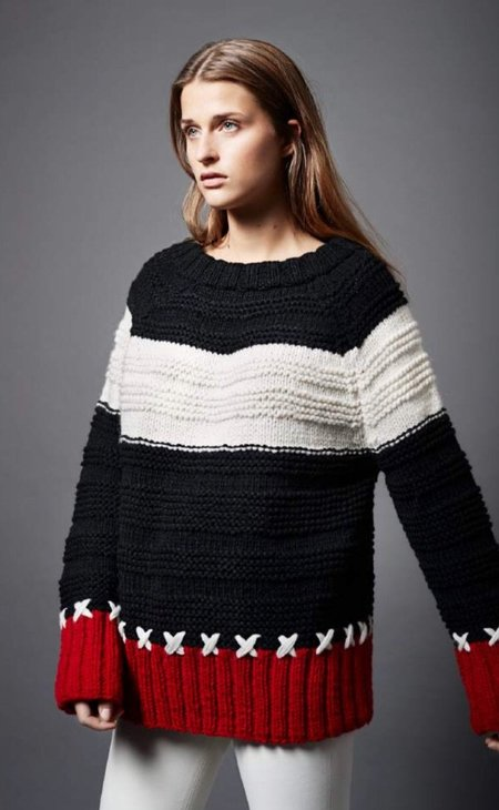 Smythe X Stitch Crew Neck Pullover - Red/Black/White