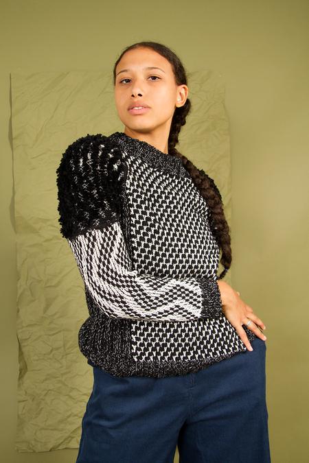 Indigenous Shaggy Knit Sweater - BLACK/IVORY