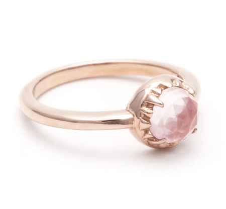 Angela Monaco Matrix Halo Ring - Rose Gold/Rose Quartz