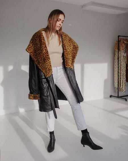 Kaleidos Vintage Leopard Shawl Collar Leather Jacket - Black