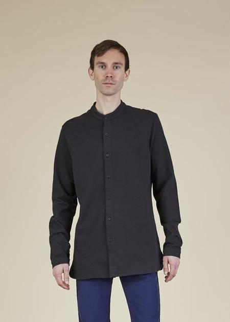 Labo.Art Wayne Band-Collar Shirt - Charcoal
