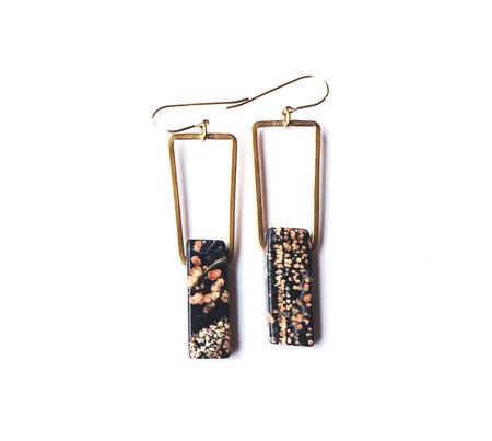 Beach Bones Bronze and Rare Snowflake Obsidian Earrings