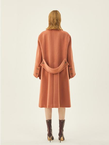 MIDNIGHT CIRCUS Wide Wool Double Coat - Pink