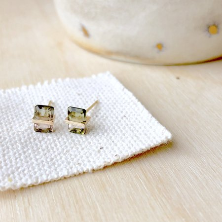 Januka Bi-Color Tourmaline Earrings - Gold