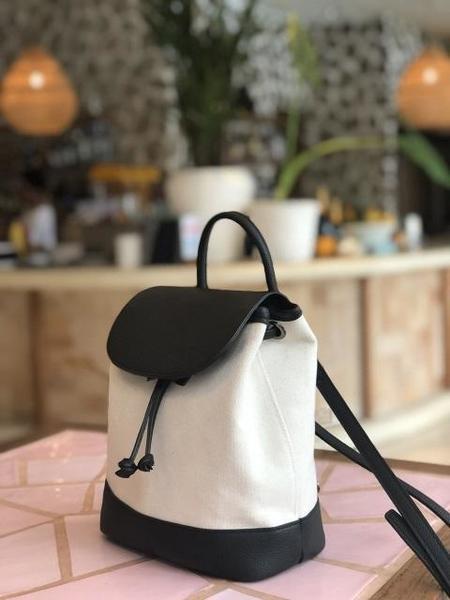 DEMERIEL Flap Backpack - Black/Ivory