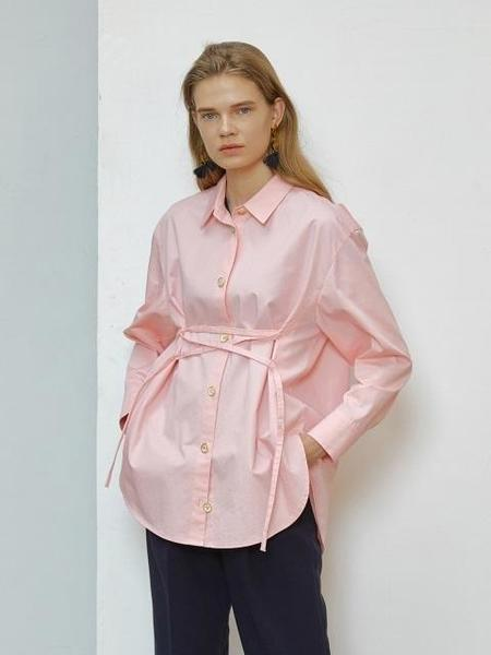 En Or Lace-up Shirt - Pink