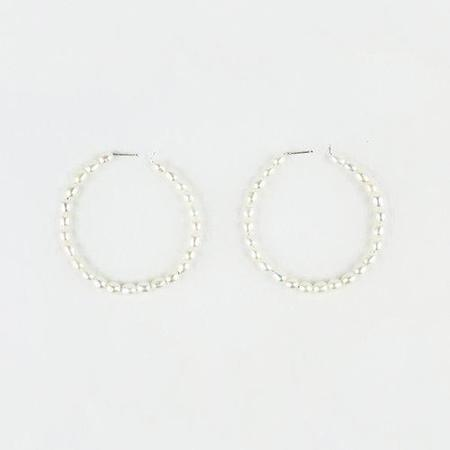 Blade & Knoll Large Pearl Hoops - Silver