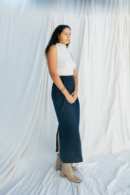 Ozma Brushed Linen Blanket Skirt - EVENING