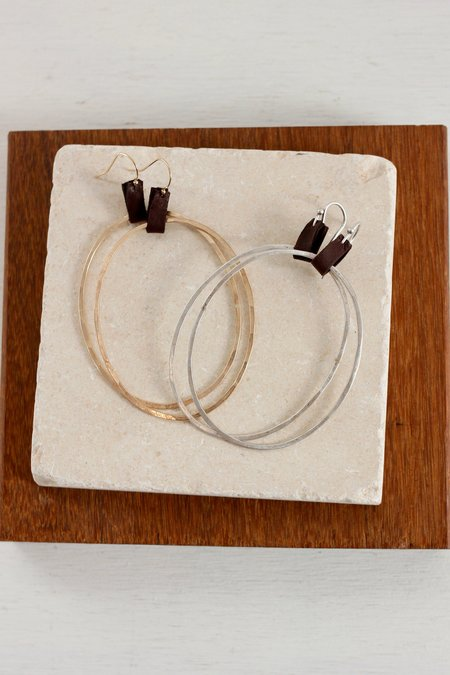 CLP Extra Large Oval Earrings with Leather Tab