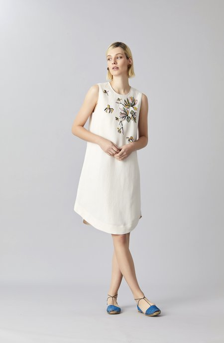 Megan Park Oleana Linen Sundress - White