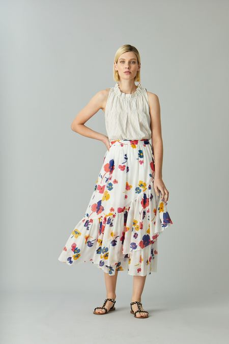 Megan Park Poppy Tier Wrap Skirt - Floral