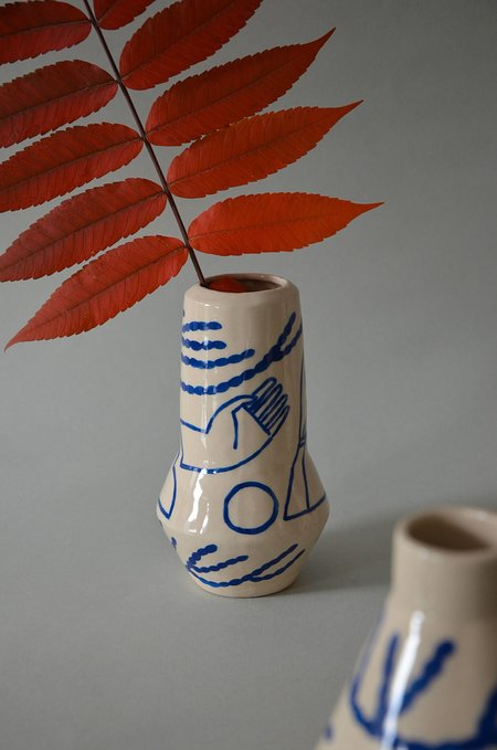 Sophie Alda ROCKET VASE - cream/blue