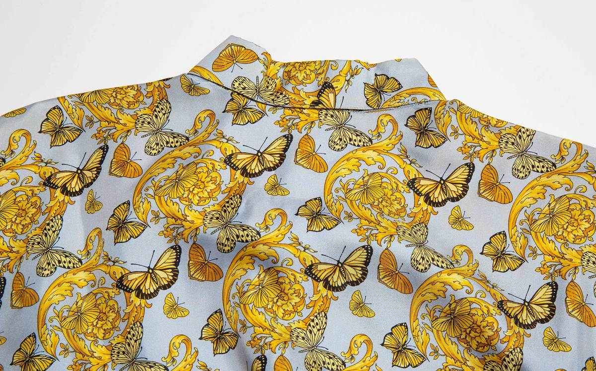 87b7aaf6 Vintage Kindred Black Gianni Versace 1990's Silk Butterfly Print ...
