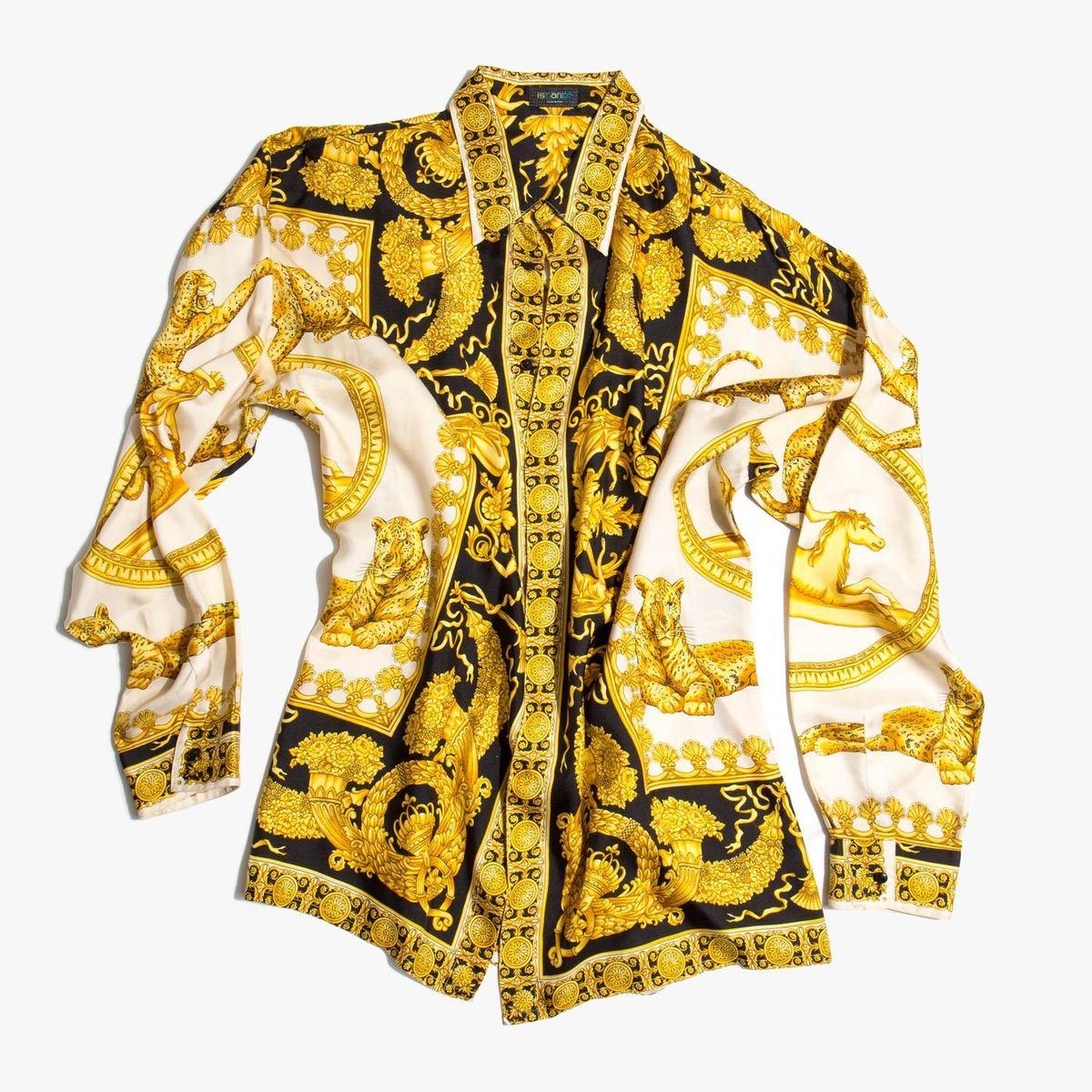 34e86dc74b Gianni Versace Vintage Silk Shirt Baroque Print   Azərbaycan Dillər ...