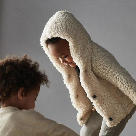 KIDS Bacabuche Baby And Child Teddy Coat With Hood - Milk White Sherpa
