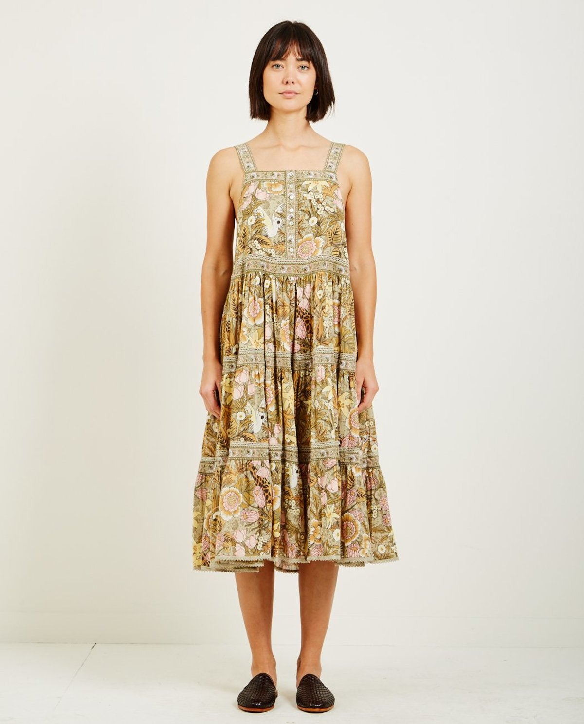 ab1343f3cb7 SPELL   THE GYPSY JUNGLE MIDI SUNDRESS - KHAKI