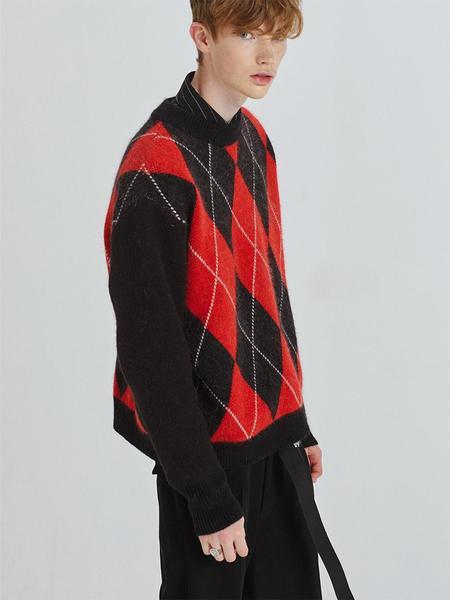 HALEINE Angora Argyle Knit - Red Black