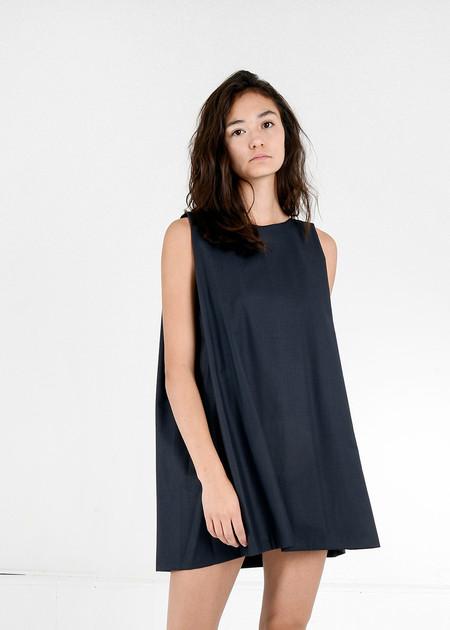 KAAREM Midnight Blue Tyh.d Boatneck Open Back Dress